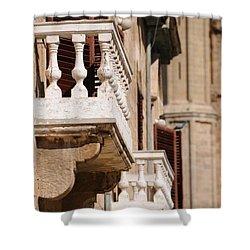 Famagusta Balconies Shower Curtain by Jeremy Voisey