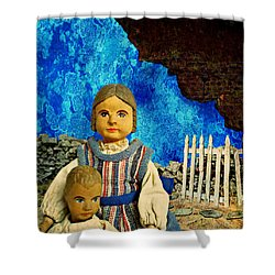 Shower Curtain featuring the mixed media Family by Ally  White