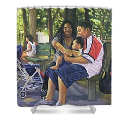 Family In The Park Shower Curtain by Colin Bootman