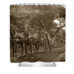 Family Out Carriage Ride On The 17 Mile Drive In Pebble Beach Circa 1895 Shower Curtain