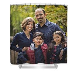 Family Portrait On Bridge - 1 Shower Curtain