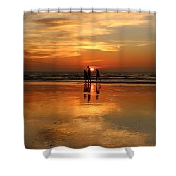 Family Reflections At Sunset -3  Shower Curtain