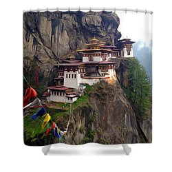 Famous Tigers Nest Monastery Of Bhutan 10 Shower Curtain