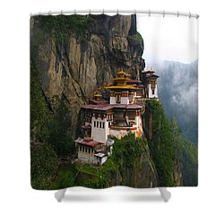 Famous Tigers Nest Monastery Of Bhutan Shower Curtain