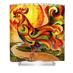 Fancy Feathers Rooster Shower Curtain