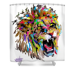 Shower Curtain featuring the painting Fangs by Anthony Mwangi