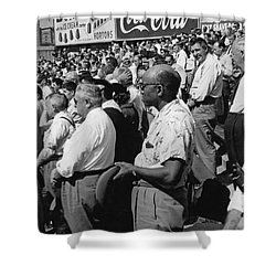 Fans At Yankee Stadium Stand For The National Anthem At The Star Shower Curtain by Underwood Archives