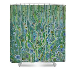 Shower Curtain featuring the mixed media Fantasia In Eye Minor by Douglas Fromm