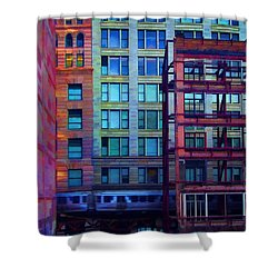 Shower Curtain featuring the pyrography Fantastical Chicago Loop by John Hansen
