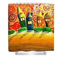 Fantasy Art - The Village Festival Shower Curtain by Nirdesha Munasinghe