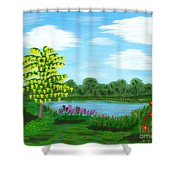 Fantasy Backyard Shower Curtain by Vicki Maheu
