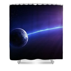 Fantasy Earth And Moon With Colourful  Sunrise Shower Curtain by Johan Swanepoel