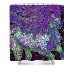 Fantasy Horse Purple Mosaic Shower Curtain