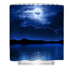 Fantasy Moon And Clouds Over Water Shower Curtain
