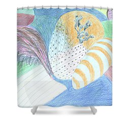 Shower Curtain featuring the drawing Fantasy Of Egg And Cactus by Esther Newman-Cohen