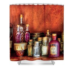 Fantasy - Wizard's Ingredients Shower Curtain by Mike Savad