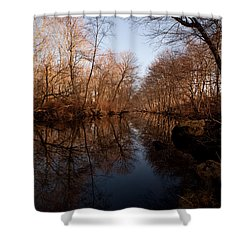 Far Mill River Reflects Shower Curtain by Karol Livote