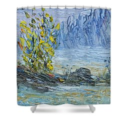 Shower Curtain featuring the painting Far Off Woodland Lough Hyne. by Conor Murphy