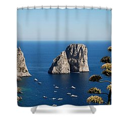 Faraglioni In Capri Shower Curtain by Dany Lison