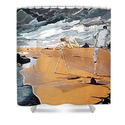 Shower Curtain featuring the painting Faraway Lejanias by Lazaro Hurtado