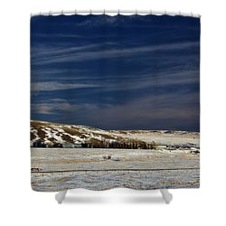 Farm At Bottom Of Hill In Winter Shower Curtain by Roberta Murray