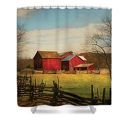 Farm - Barn - Just Up The Path Shower Curtain by Mike Savad