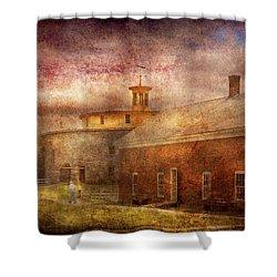 Farm - Barn - Shaker Barn  Shower Curtain by Mike Savad