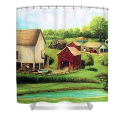 Shower Curtain featuring the painting Farm by Bernadette Krupa