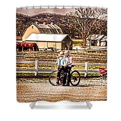 Farm Boys Country Exchange Shower Curtain by Randall Branham