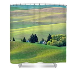 Farm Buildings Nestled In The Palouse Country Shower Curtain
