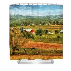 Farm - Cow - Cows Grazing Shower Curtain by Mike Savad