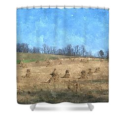 Shower Curtain featuring the painting Farm Days 2 by Sara  Raber