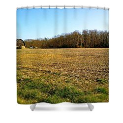 Farm Field With Old Barn Shower Curtain