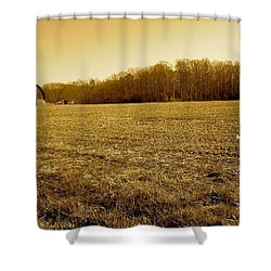 Farm Field With Old Barn In Sepia Shower Curtain by Amazing Photographs AKA Christian Wilson