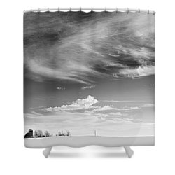 Farm In The Distance In A Snowy Field Shower Curtain by Patrick LaRoque