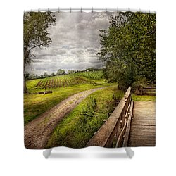 Farm - Landscape - Jersey Crops Shower Curtain by Mike Savad