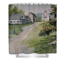Farm On Orchard Hill Shower Curtain by Joy Nichols
