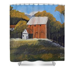 Shower Curtain featuring the painting Farm With Red Barn by Pamela  Meredith
