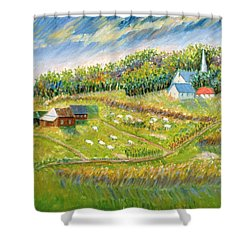 Farm With Sheep Shower Curtain by Patricia Eyre