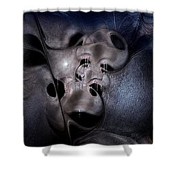 Shower Curtain featuring the digital art Farmaceutical Future by Casey Kotas