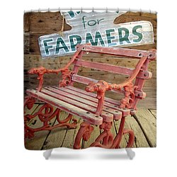 Farmer Bench Shower Curtain by Kerri Mortenson