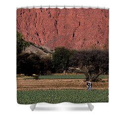 Farmer In Field In Northern Argentina Shower Curtain by James Brunker