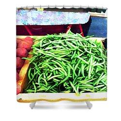 Farmer Salad Bar Shower Curtain by Elaine Plesser