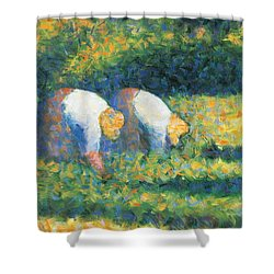 Farmers At Work Shower Curtain by Georges Seurat