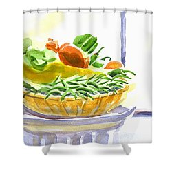 Farmers Market V Summers Harvest In The Window Shower Curtain by Kip DeVore