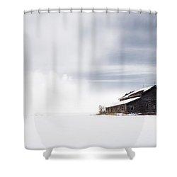 Farmhouse - A Snowy Winter Landscape Shower Curtain by Gary Heller
