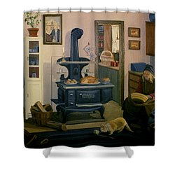 Shower Curtain featuring the painting Farmhouse In Autumn 1990 by Nancy Griswold