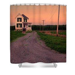 Farmhouse On Gravel Road Shower Curtain by Jill Battaglia