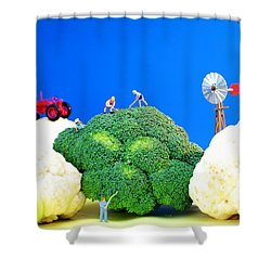 Farming On Broccoli And Cauliflower Shower Curtain by Paul Ge
