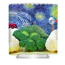 Farming On Broccoli And Cauliflower Under Starry Night Shower Curtain by Paul Ge